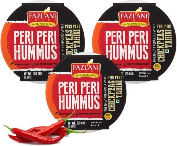 FAZLANI FOODS Ready to Eat Peri Peri Hummus Shelf Stable & Gluten Free - Pack of 3 300 g