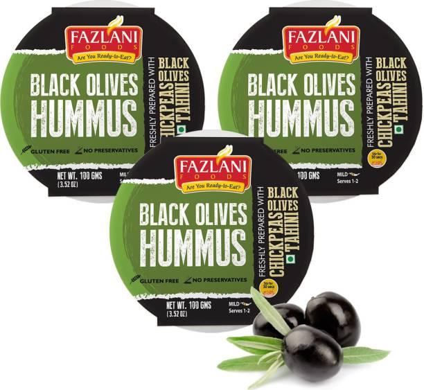 FAZLANI FOODS Ready to Eat Black Olives Hummus Shelf Stable & Gluten Free - Pack of 3 300 g