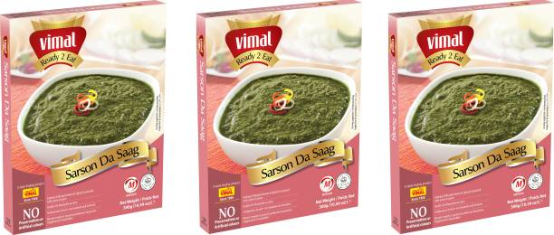 VIMAL Ready to Eat Tasty Sarson Da Saag Instant Mix Panjabi Vegetarian Meal with No Added Preservative and Colours - 300g Each (Pack Of 3) 900 g