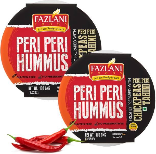 FAZLANI FOODS Ready to Eat Peri Peri Hummus Shelf Stable & Gluten Free - Pack of 2 200 g