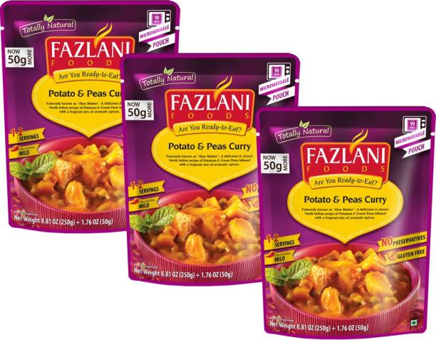 FAZLANI FOODS Aloo Mutter(Potato & Peas) Curry, (Pack of 3, 250gm each) 750 g