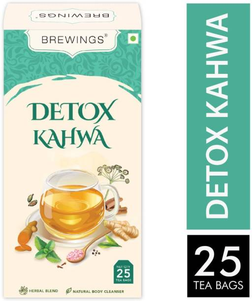 Brewings Detox Kahwa Tea for Detoxification, Immunity Boost, Stress Buster and Better Digestion. Herbs Herbal Tea Bags Box