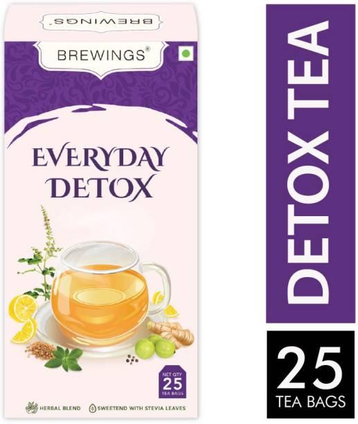 Brewings Everyday Detox Herbal Green Tea for Weight Loss & Boost Immunity Herbs Green Tea Bags Box