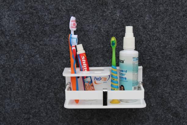 HEXA GOLD High Grade Acrylic Deluxe Toothbrush Stand With Bottle Holder/Tumbler Holder/Brush & Paste Holder With Bottle Shelf Rack Holder (1 Pcs., White) Acrylic Toothbrush Holder
