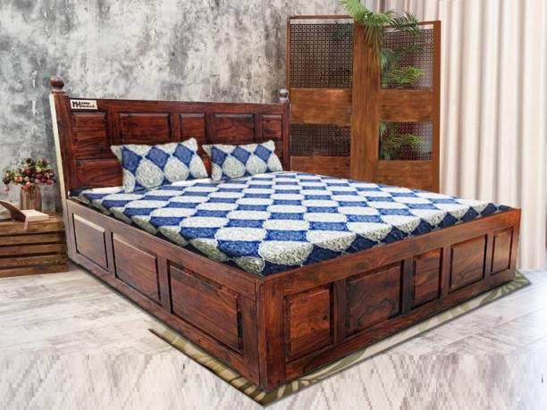 Meera Handicraft Sheesham Wood Solid Wood King NA Bed