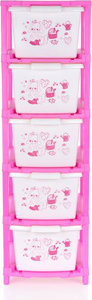 Flipkart Perfect Homes Studio Modular Drawer System Modular Drawer made of Virgin Plastic, Drawer Organizer for Home, Office, Parlor, School, Doctors, Home and Kids Foldable drawers organizers Box (5 XL, Pink Colour) Plastic Free Standing Chest of Drawers