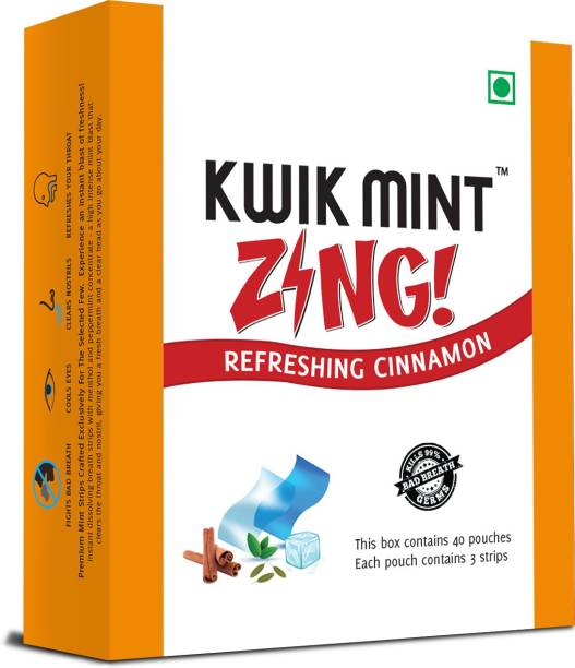 Kwik Mint Zing - Sugar Free Cinnamon Flavoured Mouth Freshener Oral Care Strips - Pack of 1 (40 Sachets - 120 Strips) Cinnamon Mouth Freshener