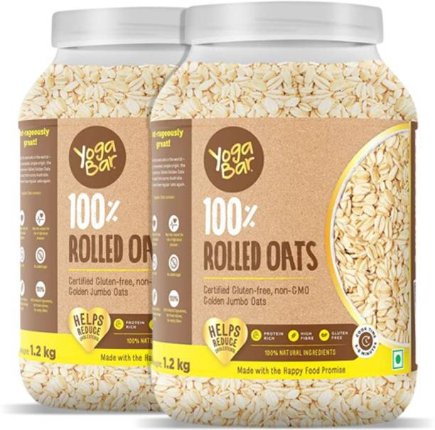 Yogabar 100% Rolled Oats | Premium Golden Rolled Oats, Gluten Free Oats with High Fibre, 100% Whole Grain, Non GMO, No Added Sugar | Rolled Oats for Weight Loss