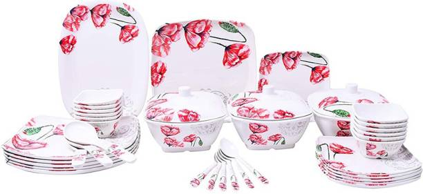 Flipkart SmartBuy Pack of 40 Melamin Red Flowers Prints Dinner Set