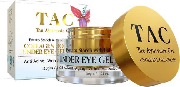 TAC - The Ayurveda Co. Collagen Boosting Under Eye Gel Creme, Anti Aging, Wrinkles, Dark Circles, Potato Starch with Babchi & HA