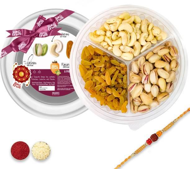 HyperFoods Dry fruit Binge box Combo Pack of 3 Premium Dry fruit and Nuts Cashew Kaju Pista Golden Raisins Kishmish   Rakhi with Dry fruits Gift Hamper for Brother and Bhabhi for Raksha Bandhan Bhaidooj Plastic Gift Box