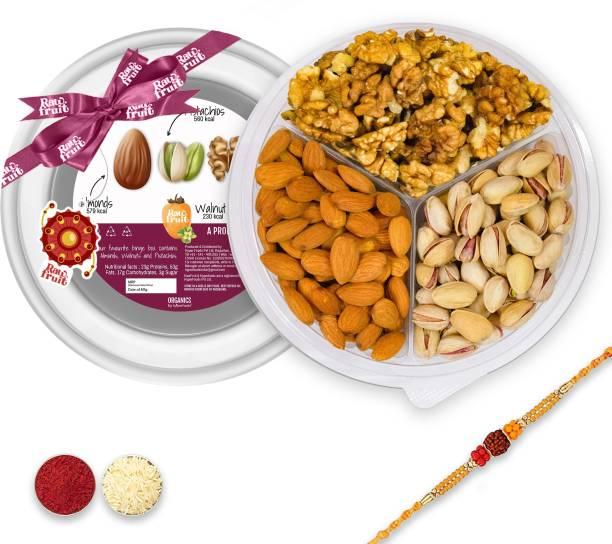 HyperFoods Dry fruit Binge box Combo Pack of 3 Premium Dry fruit and Nuts Almond Badam Pista Walnut Akhrot   Rakhi with Dry fruits Gift Hamper for Brother and Bhabhi for Raksha Bandhan Bhaidooj Plastic Gift Box