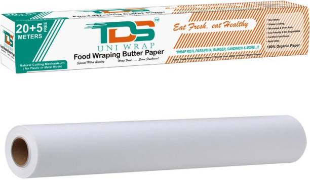 TDS PLUS WRAP 25 METER ORGANIC WRAPPING BUTTER PAPER PACK 1 | KITCHEN BUTTER PAPER | BUTTER PAPER ROLL | HOME KITCHEN USE BUTTER PAPER | FOR DAILY FOOD PACKAGING PACK 1 Parchment Paper