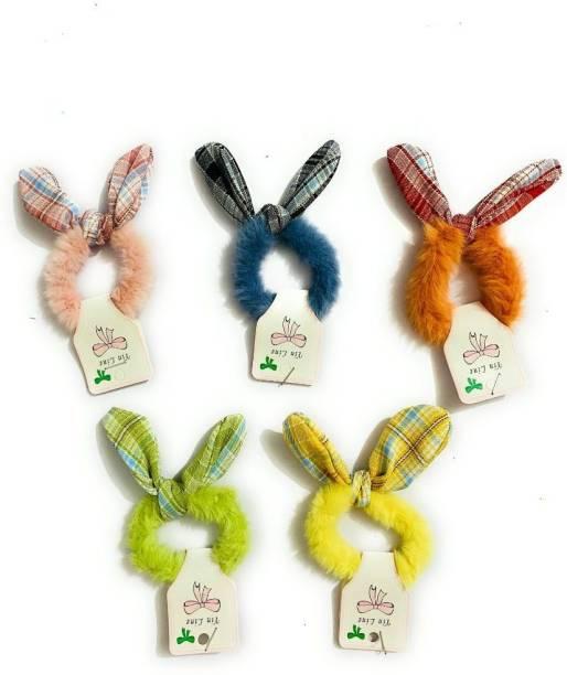 SparkLady Rabbit Ear Hair Scrunchie Bunny Ears Hair Bow Tie Elastic Girls/Women Faux Rabbit Fur Ponytail Holder Hair Accessories Hair Band