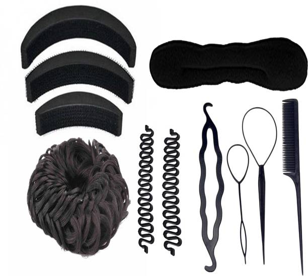 BELLA HARARO Hair Accessory Set Hair Styling Tools Bun Maker Combo Offer Black (Combo of 11 Pieces) Rubber Band
