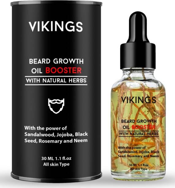 Vikings Booster Beard Growth Oil Enriched With Ayurvedic Jadibuti and Natural Roots - No SLS, No Paraben Hair Oil