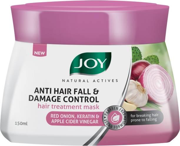 Joy Natural Actives Anti Hair fall and Damage Control Hair Treatment Mask | With Red Onion, Keratin and Apple Cider Vinegar | Hair fall Control and Repair Mask | Hair Mask