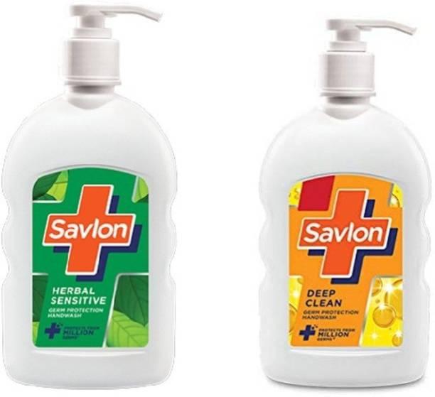 Savlon Deep Clean and herbal sensetive Germ Protection Liquid-200ml each Hand Wash Pump Dispenser