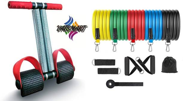 VATSMART RESISTANCE BAND 11 Pcs SET WITH DOUBLE SPRING TUMMY TRIMMER Gym & Fitness Kit