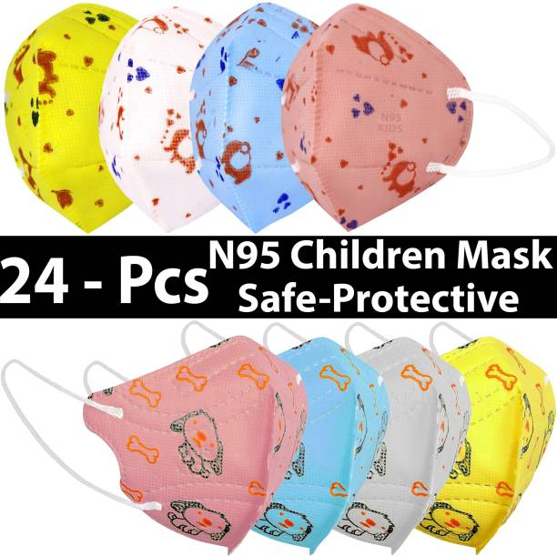 LeSafe Children N95 L Shape Combo Pack of 24 Pcs Mask Made of Melt Blown Fabric, 5 Layers Protection With 95% Effective Filtration, Universal Face Fit and Ultra Stitched, Flexible Ear Strap Very Comfortable To Wear Face Mask For (4-12 Year Girls & Boys) L Shape And Butterfly N95 Kids Mask Washable, Reusable