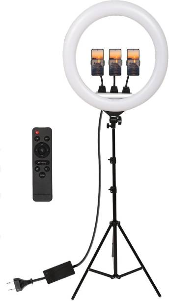 Yiweto YQ-460B 18 Inch Ring Light With 2.1 Big Tripod 360° Rotatable Remote Control Ring Light Photography Dimmable Studio Lighting For Live Streaming, Make up, Video Conference, Online Classes 6000 lx Camera LED Light