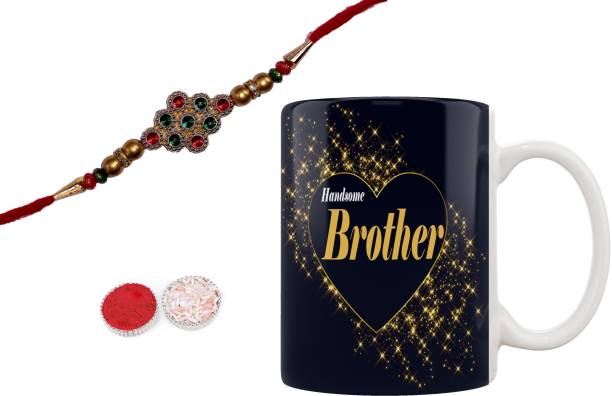 iMPACTGift Handsome Brother Printed Best Gift For Brother on Raksha Bandhan Rakhi + Roli + Chawal + Ceramic Coffee Mug