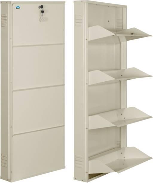 Delite Kom 20 Inches wide Latitude Four Door Powder Coated Wall Mounted Metallic Ivory Metal, Metal, Metal Shoe Rack