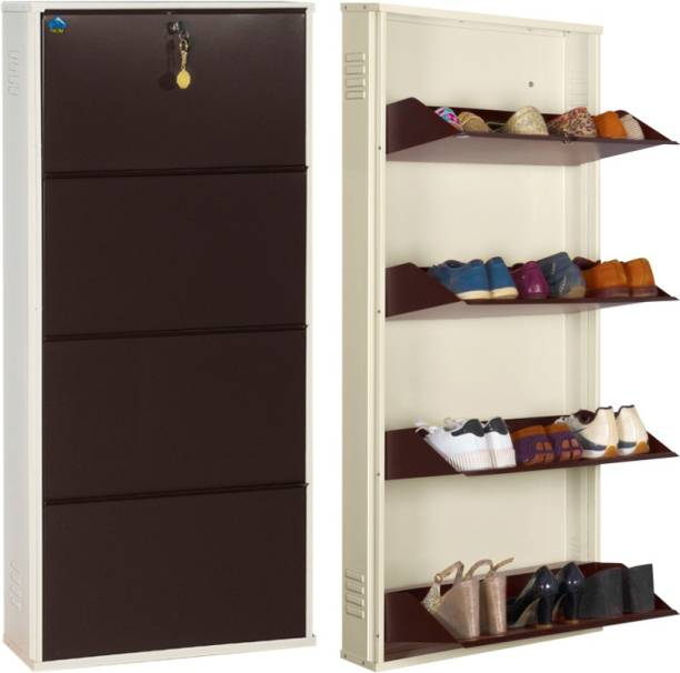 Delite Kom 24 Inches wide Four Door Powder Coated Wall Mounted Metallic Ivory Coffee Metal, Metal, Metal Shoe Rack