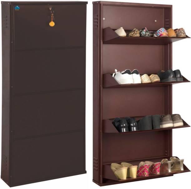 Delite Kom 24 Inches wide Infinity Four Door Powder Coated Wall Mounted Metallic Coffee Metal, Metal, Metal Shoe Rack