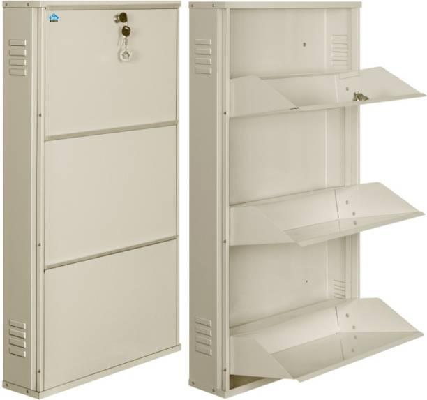 Delite Kom 20 Inches wide Latitude Three Door Powder Coated Wall Mounted Metallic Ivory Metal, Metal, Metal Shoe Rack