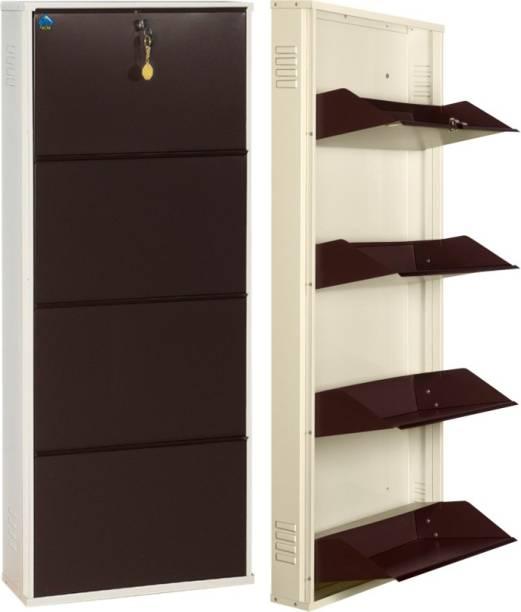 Delite Kom 20 Inches wide Four Door Powder Coated Wall Mounted Metallic Ivory Coffee Metal, Metal, Metal Shoe Rack