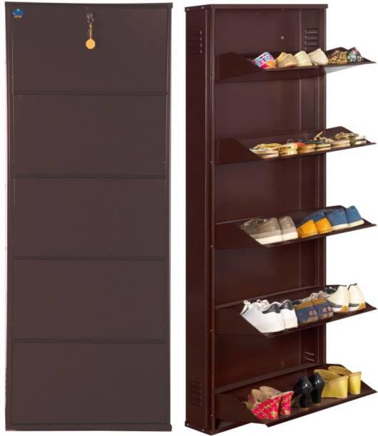 Delite Kom 24 Inches wide Infinity Five Door Powder Coated Wall Mounted Metallic Coffee Metal, Metal, Metal Shoe Rack