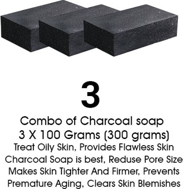 Hari Krishna Healthcare Activated Charcoal Soap for face and Body Wash (3 x 100 g)