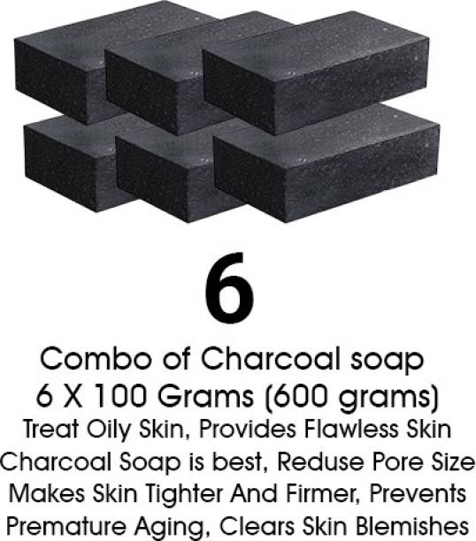 Hari Krishna Healthcare Activated Charcoal Soap for face and Body Wash (6 x 100 g)