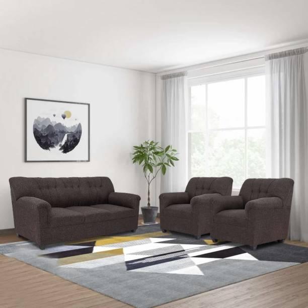 furniture crew Fabric 3 + 1 + 1 Brown Sofa Set