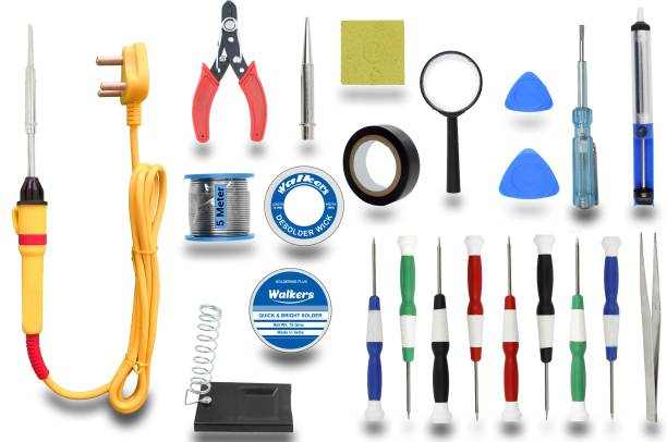 Walkers Electronic Gadget New 23 Items New Mobile Soldering and Desoldering Equipment Tool Machine Combo Kit Set with Flux Paste and Wire 25 W Simple