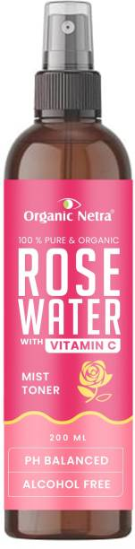 Organic Netra 100% Pure Rose Water Toner with Vitamin C | Alcohol Free | Mist Spray | For All Skin Types | Paraben & Sulphate Free Men & Women