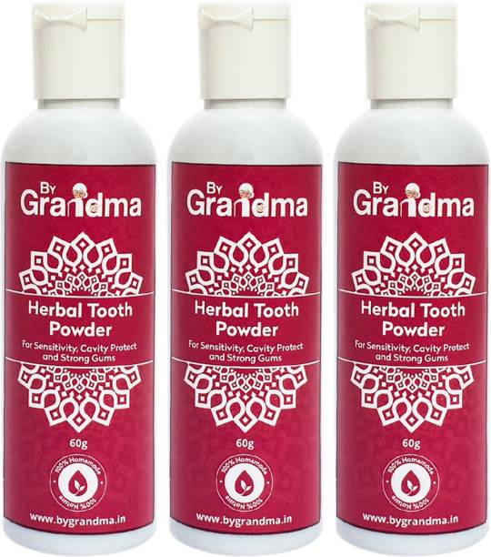 By Grandma Sensitivity Relief And Herbal Tooth Powder | 100% Natural & Homemade - 180 Gm | Helps In Bad Breath, Sensitivity Problem, Tooth Decay
