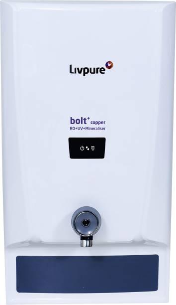 LIVPURE LIV-BOLT+COPPER(RO+UV+MIN) 6.5 L RO + UV + Mineraliser Water Purifier