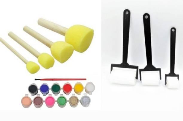 Pehrovin Ventures Combo Art Kit With Sponge Dabbers(Set of 4) + Sponge Rollers(Set of 3) +Kids safe Tempera Paints (12 bottles of 3 ml each) + 1 Paint Brush