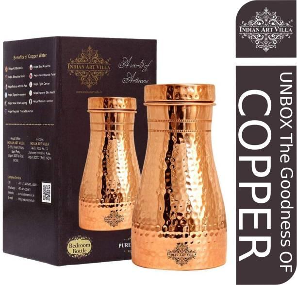 IndianArtVilla Copper Water Bottle,Bedroom Bottle 1100 ml Bottle
