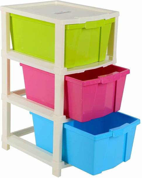 COROFFY 3 Layer Multi-Purpose Modular Foldable Drawer Storage System for Home and Office Plastic Free Standing Chest of Drawers