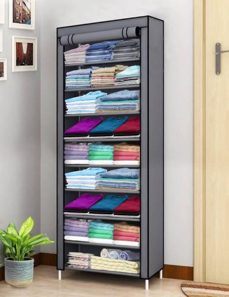 KROOH 1 Door 9 Shelf Fabric PP Metal Carbon Steel Collapsible Wardrobe