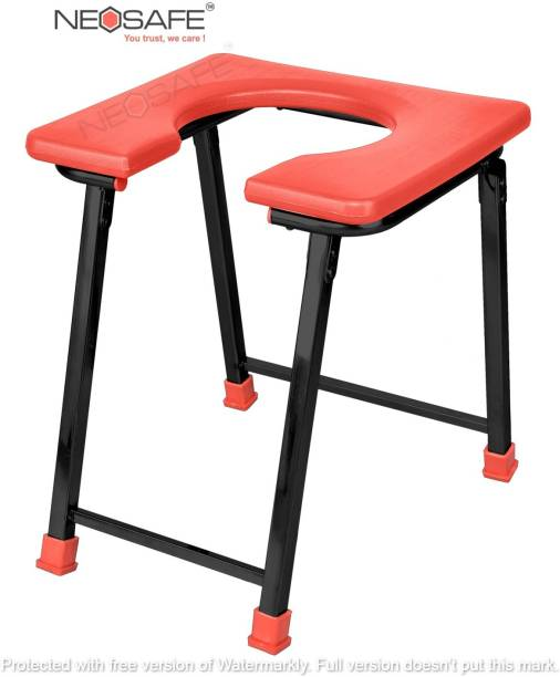 NEOSAFE Commode Chair front open & Shower chair Commode chair, left right Stool ( Red ) Commode Shower Chair