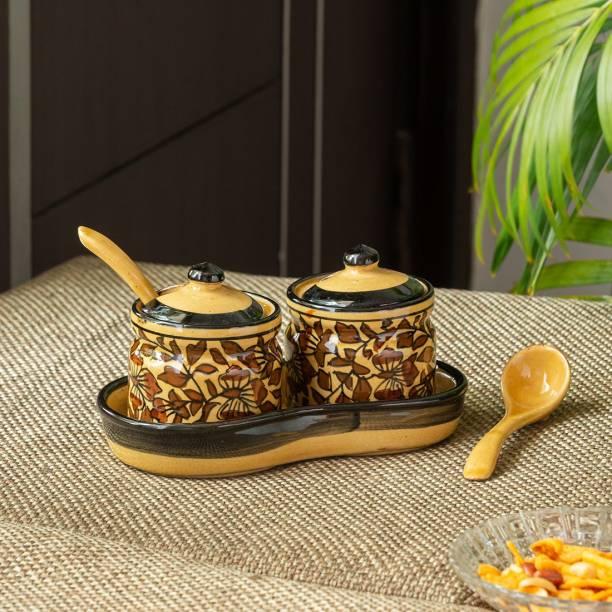 ExclusiveLane Handpainted Chutney & Pickle Jar Set with Tray (Set of 2) 2 Piece Spice Set