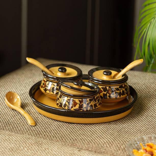 ExclusiveLane Handpainted Chutney & Pickle Jar Set with Tray 3 Piece Spice Set