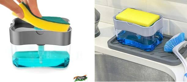 Shivarth 2 in 1 Soap Pump Dispenser for Dishwasher Liquid,Soap, Sponge Holder (385ml) Free SpongeShivarth 2 in 1 Soap Pump Dispenser for Dishwasher Liquid,Soap, Sponge Holder (385ml) Free Sponge ( Pack of 2 ) Dishwash Bar