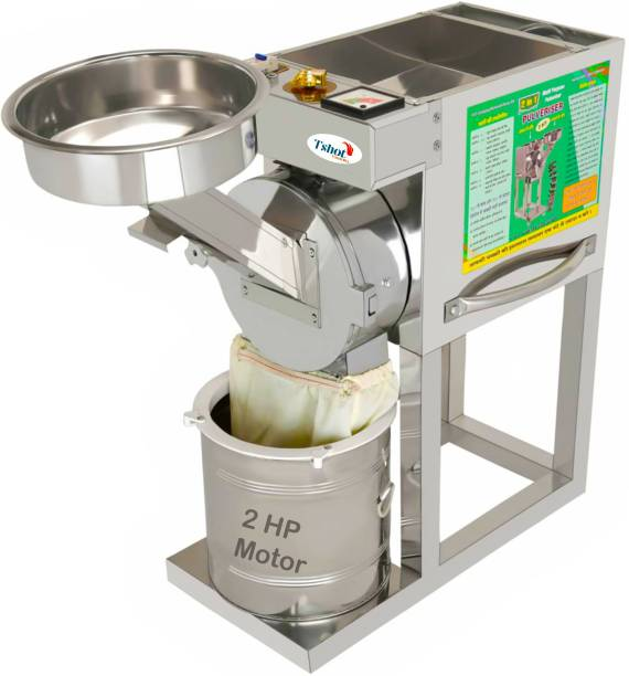 """Tshot For Business & Bulk Production 2 In 1 FlourMill Businessmen 's 1st Choice Atta Chakki For Home & Business (All Multigrain Atta + All Masala) (Premium Quality Because -Install Fully Air Chimer So The Nutrition And Smell Of All Spices Are The Same ) (Semi Automatic And Jali NO.0 To 6 Flourmill) Premium Full Stainless Steel Body And Inside Fully Stainless Steel Material Use (Flour Mill High Gloss Finish Child, Micro Processor Base Controlling, Over Load Protection Off System Etc, """"ISO Certification""""2 H.P Motor"""" (100% Copper Wiring) Power- 220V, 2880 RPM, Single Phase (Production 14-17 Kg Per Hour) """"Premium Quality Machinery Parts """" EXPORTS in All World Flourmill"""