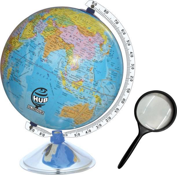 GLOBEHUB HUB Globe of World, Educational World Globe with Steel Arc and Base Desk & Table Top Political World Globe