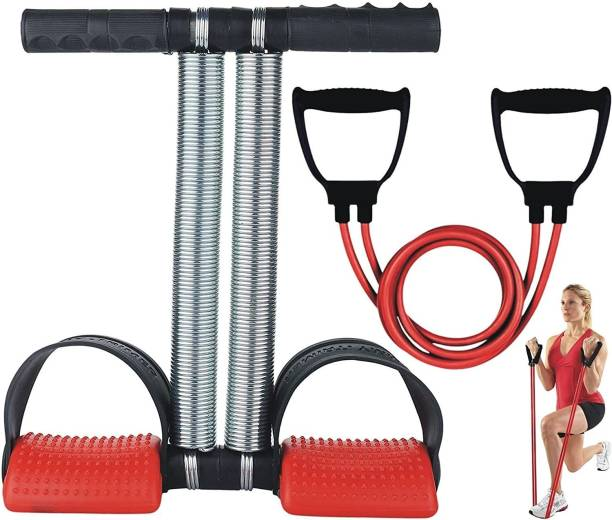 Flysch Shoppe Double Spring Waist Tummy Trimmer & Double Toning Tube Resistance Band (Combo of 2) Abs Exerciser Fat Buster Home Gym, Exercise Equipment Abdominal Multipurpose Fitness. (Multicolor) Gym & Fitness Kit